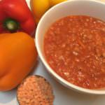 Spicy High Fibre Red Lentil and Tomato Soup