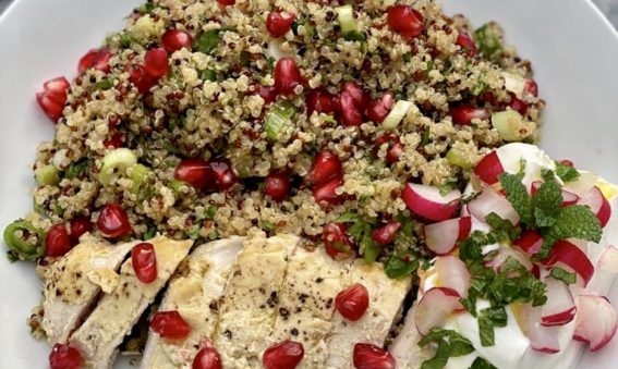 Cumin and Lemon Chicken with quinoa and pomegranate salad
