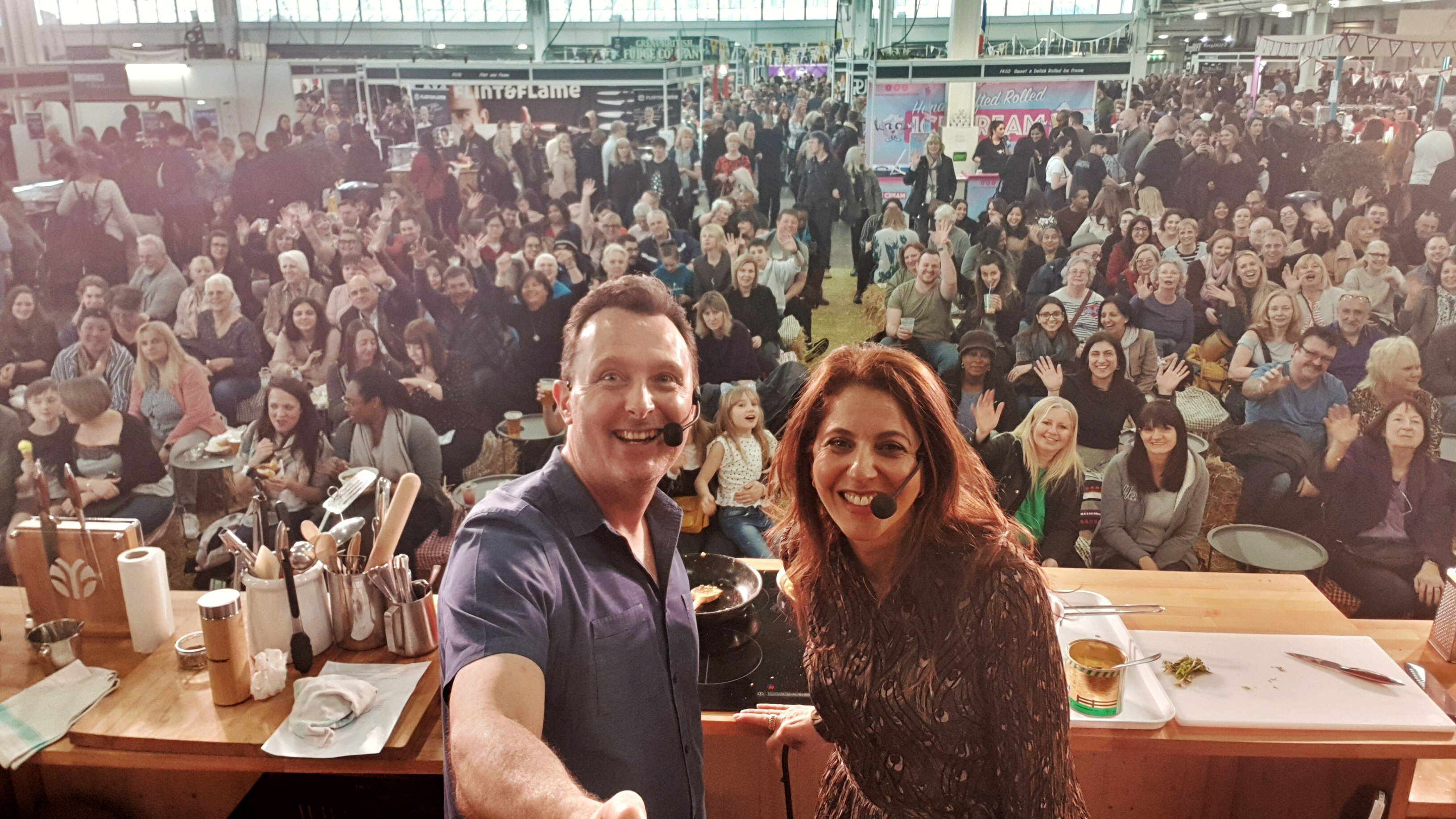 May Simpkin demonstrates healthy cooking at the Ideal Home Show 2019, Olympia London