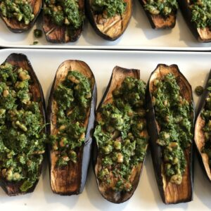 Healthy Roasted Aubergines with Walnut Salsa Verde
