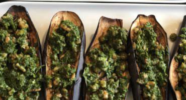 Healthy Roasted Aubergines with Walnut Salsa Verde