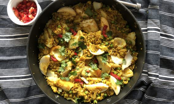 Healthy Low Carb Kedgeree with Cauliflower Rice and Quinoa