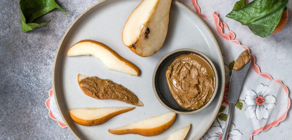 Nut Butter and fruit as an afternoon snack when you're feeling stressed advises May Simpkin