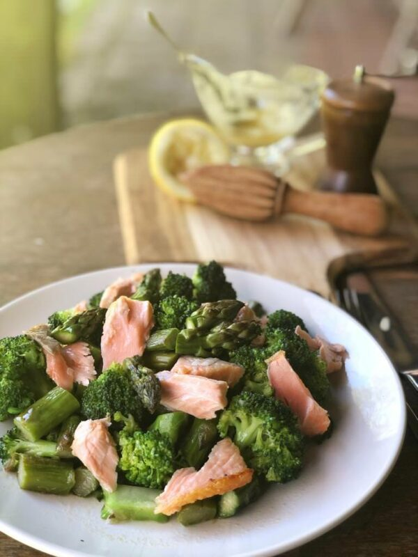 Asparagus and Broccoli Salmon salad in under 15 mins