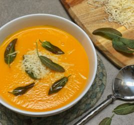 Silky smooth pumpkin soup with crispy sage leaves