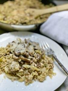 Vegan Mushroom & Savoy Cabbage Pearl Barley Risotto