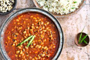 Delicious plant based Indian food; Lobia Masala