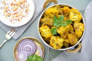 Delicious plant based Indian food; Adraki Aloo Gobi