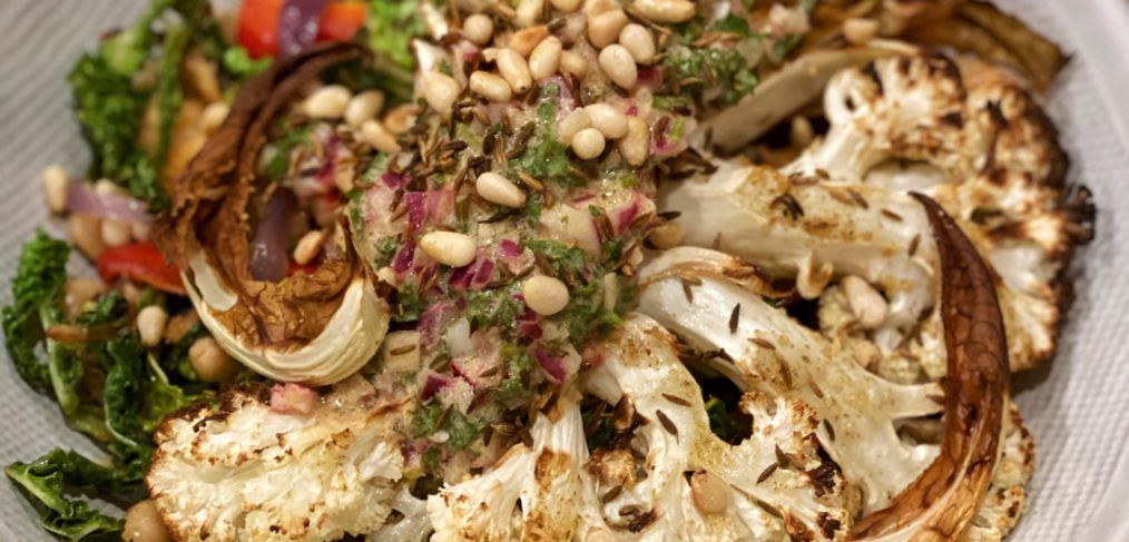 Vegan Cauliflower Steak Salsa Verde with cannellini bean sautė