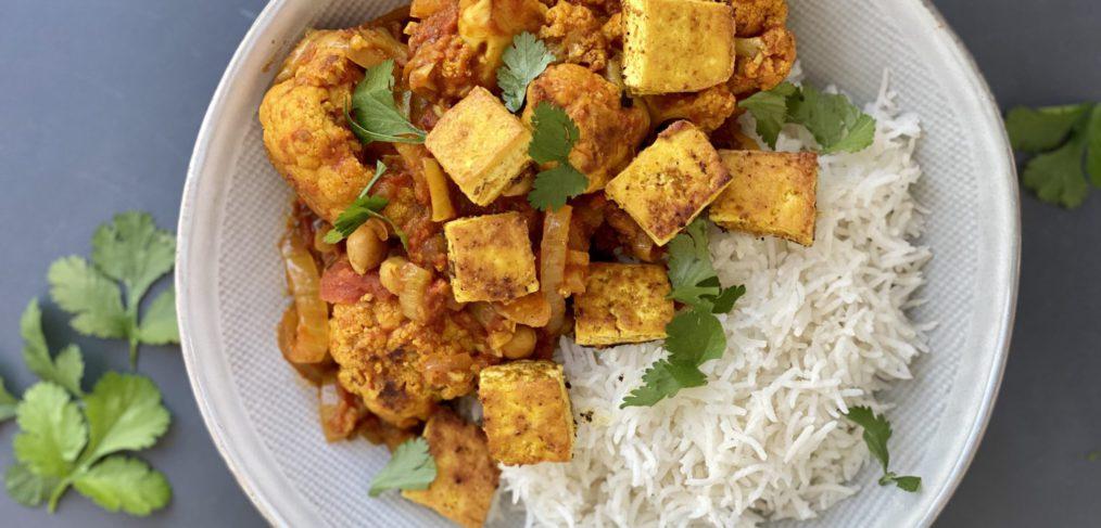 Roasted Cauliflower and Chickpea Curry with Crispy Tofu