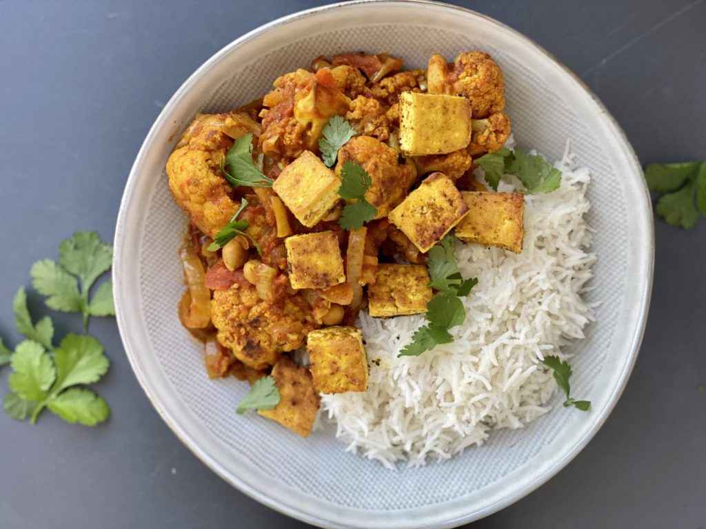 Roasted Cauliflower and Chickpea Curry with Crispy Tofu; best foods for weight loss