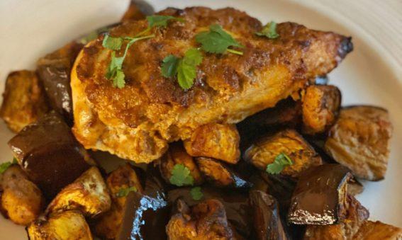 Baked Harissa Chicken and Aubergine